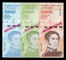 Venezuela Full Set 10000 20000 50000 Bolívares 2019 Pick New Specimen SC UNC - Venezuela