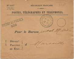 "LETTRE POSTE,TELEGRAPHE ET TELEPHONES  EN FRANCHISE MILITAIRE OBLITERATION CAD TRESOR ET POSTE 24 10 15 ""508 "" - WW I"