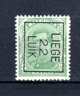 PRE61B-IV MNH** 1922 - LIEGE 22 LUIK - Typo Precancels 1922-26 (Albert I)