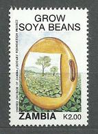 Zambia, 1991 (#555b), Grow Soya Beans, Field, Vegetables, Gemüse, Verdure, Legumes, Trees, Árboles, Arbres - 1v Single - Agriculture