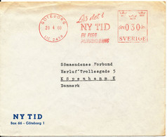 Sweden Cover With Meter Cancel Sent To Denmark Göteborg 20-4-1960 (Läs Det I Ny Tid) - Covers & Documents