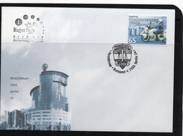 POLICE  -  HUNGARY  - 2003 -  POLICE  / MOTORCYCLIST ON ILLUSTRATED FDC - Police - Gendarmerie