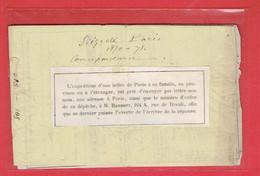 SIEGE DE PARIS 1870 1871 IMPRIME VIERGE NUMEROTE DE L AGENCE DE CORRESPONDANCE DES FAMILLES BARNETT 164 A RUE DE RIVOLI - 1870 Beleg Van Parijs