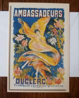 Ambassadeurs Duclerc Chanteuse Et Danseuse Serpentine D'après Ernest Clair-Guyot (1895) Double Carte - Advertising