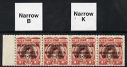 Cook Islands 1935 KG5 Silver Jubilee 1d Capt Cook Red-brown & Lake Strip Of 4 Narrow 'K' And Narrow 'B' Varieties - Cook Islands
