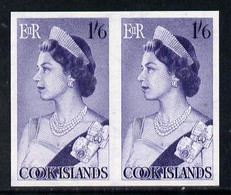 Cook Islands 1963 Def 1s6d Queen Elizabeth In U/m Imperf Pair (as SG 170) - Cook Islands