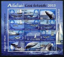 Cook Islands - Aitutaki 2013 Whales & Ships Definitive Perf Sheetlet Set Of 12 Values U/m - Cook Islands