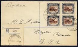 Cook Islands - Aitutaki 1931 Reg Cover To USA Bearing 1920 Block Of 4 X 6d (SG 28) Reg Label Canc 27 Oct 31 - Cook Islands