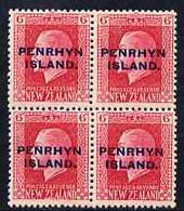 Cook Islands - Penrhyn 1917-20 KG5 6d Carmine P14 X 13.5 Block Of 4, U/m SG 26 - Cook Islands