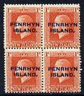 Cook Islands - Penrhyn 1917-20 KG5 1s Vermilion P14 X 14.5 Block Of 4, U/m SG 27a - Cook Islands