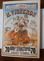 Machines à Coudre H. Vigneron D'après Alfred Choubrac (1890) Double Carte - Advertising