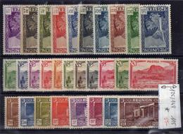 REUNION Série  1933/1938 N°125/148 *  Vues De L'Ile - Unused Stamps