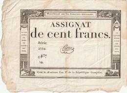 ASSIGNAT  DE  100  FRANCS  GRANDE  BORDURE  TRES  BON ETAT  PETIT PRIX  VOIR  SCAN - Assignats