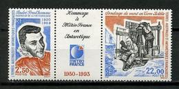 TAAF 1993 N° 183A ** ( 182/183 ) Triptyque Neufs MNH Superbe C 12,50 € Météo France André Prud'homme - Neufs