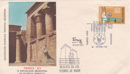 ARGENTINA. TEMEX '63, RESCATE DE LOS TESOROS DE NUBIA. 1963, FDC ENVELOPPE.- LILHU - Archéologie