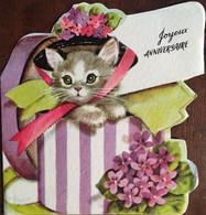 """Cp Double """"découpée"""", Chat Avec Chapeau, Joyeux Anniversaire, Violettes, écrite, édition Rust Craft - Compleanni"""