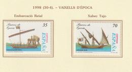 1998, Old Ships 2v ** Mi 3381-82 - Embarcación Real, Jabeque Tajo - 1991-00 Nuevos & Fijasellos
