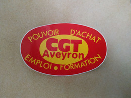 AUTOCOLLANT STICKER - CGT AVEYRON – POUVOIR D'ACHAT EMPLOI FORMATION – SYNDICAT - Stickers