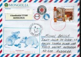 MONGOLIE. Année Du Rat, Lettre De Ulaanbaatar, Arrivée Andorra, Pendant Confinement Covid-19,avec Sticker Prevention - Mongolei