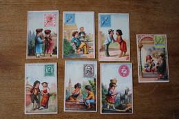 7 Chromos Images Anciennes   Les Petits Amoureux Des Pays     Lot 78 - Au Bon Marché