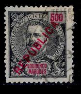 ! ! Lourenco Marques - 1917 D. Carlos Local Republica 500 R - Af. 155 - Used - Lourenco Marques