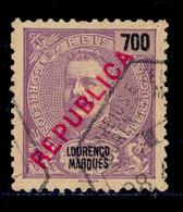 ! ! Lourenco Marques - 1917 D. Carlos Local Republica 700 R - Af. 156 - Used - Lourenco Marques