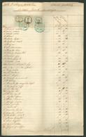BÖHÖNYE 1860. Böhönyei Uradalom érdekes Leltárjegyzék 12kr + 2kr Okmánybélyeggel + 1kr Hirdetmény Bélyeggel - Revenue Stamps