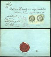JÁSZDÓZSA / JÁSZBERÉNY 1873. Dekoratív Végrendelet, 50Kr Pár Okmánybélyegekkel - Used Stamps