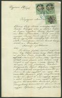 1876. Adóssági Nyilatkozat, Dekoratív Jogi Dokumentum 2*10Ft + 5Ft Okmánybélyegekkel - Used Stamps
