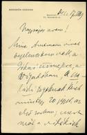 1893. Hegedűs Sándor 1847-1906. Magyar újságíró, Politikus, Országgyűlési Képviselő, Miniszter, Autográf Levél Gerlóczy  - Unclassified