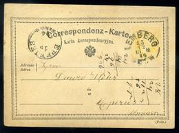 LEMBERG JUDAICA 1874. Díjjegyes Levlap, Héber Nyelven érve , Eperjesre Küldve - Covers & Documents