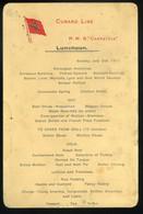 CUNARD RMS Carpathia Kivándorló Hajó Menükártya 1911. - Unclassified