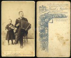 HERKULESFÜRDŐ 1900 Ca. Kossak és Wippler : Zenészek, Apa és Lánya, Régi Visit Fotó - Unclassified
