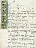 SÁTORALJAÚJHELY 1876.   Dekoratív , Komplett  Közjegyzói Okiarat 5*2,50ft Okmány Bélyegekkel - Unclassified