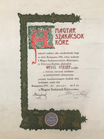MAGYAR SZAKÁCSOK KÖRE 1910. Szakácsművészeti Aranyérem Diploma, Ritkaság ! - Unclassified