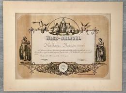 1883. Fővárosi Kávés és Kávémérő Társulat, Dekoratív Litografált Díszoklevél, Paszpartban. Szép és Ritka Darab - Unclassified