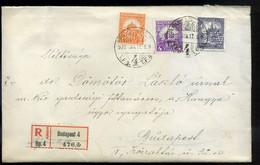 BUDAPEST 1928. Ajánlott Levél Céglyukasztásos Bélyegekkel, érdekes Tartalommal - Unclassified