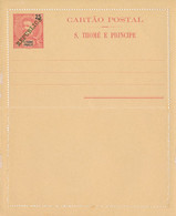 S. THOME E  PRINCIPE  -  25 Reis  Mit Überdruck REPUBLICA  -  CARTAO POSTAL  ,  Ganzsache , Kartenbrief , Letter Card - Sao Tome Et Principe