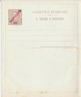 S. THOME E  PRINCIPE  -  50 Reis  Mit Überdruck REPUBLICA  -  CARTAO POSTAL  ,  Ganzsache , Kartenbrief , Letter Card - Sao Tome Et Principe