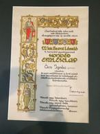 SOPRON 1939. Szent László 4. Honvéd Gyalogezred, Dekoratív Nagy Alakú Oklevél Paszpartuban - Unclassified