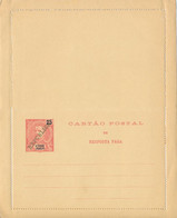 S. THOME E  PRINCIPE  -  25 Reis  Mit Überdruck REPUBLICA  -  CARTAO POSTAL De Resposta Paga , Kartenbrief , Letter Card - Sao Tome Et Principe