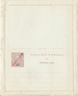 S. THOME E  PRINCIPE  -  50 Reis  Mit Überdruck REPUBLICA  -  CARTAO POSTAL De Resposta Paga , Kartenbrief , Letter Card - Sao Tome Et Principe