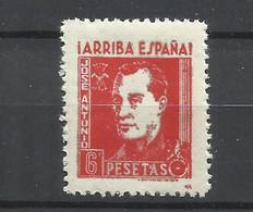 Q733I-SELLO FALANGE JOSE ANTONIO PRIMO DE RIVERA ARRIBA ESPAÑA 6 PESETAS MNH** GUERRA CIVIL LUJO ,SPAIN CIVIL WAR. - Spanish Civil War Labels