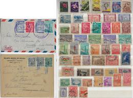 Bolivia 1928 4 Commercial Cover From Oruru To Austria + 1956 Cover Cuevo To Brazil + 52 Stamp - Bolivie
