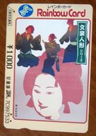 GIAPPONE Ticket Biglietto Arte Donna Treni Metro Bus Rainbow  Card 1.000 ¥ - Usato - World