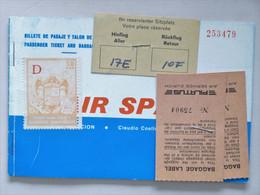 "AIR SPAIN - Passenger Air Ticket + Baggage Label ""PILATUS"", 1970(?) ZURICH > PALMA > ZÜRICH / 50PTAS Timbre Para Tasas.. - Europe"
