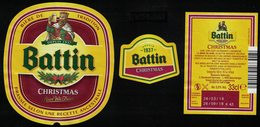 Luxembourg Lot 3 Étiquettes Bière Beer Labels Battin Christmas - Beer