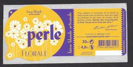 Etiquette De Bière Blonde  - Perle Florale  -  Brasserie Perle à Strabourg (67) - Beer