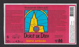 Etiquette De Bière Ambrée  -  Doigt De Dieu  -  Brasserie Ubérach à Uberach  (67) - Beer