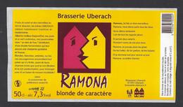 Etiquette De Bière Blonde De Caractère  -  Ramona  -  Brasserie Ubérach à Uberach  (67) - Beer